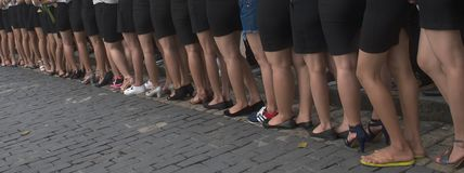Vietnamese students. Beautiful feet of Vietnamese students at the beginning of the school year - Saigon 2016 Stock Photography