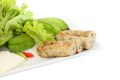 Vietnamese style food set focus side pork corner Stock Photos