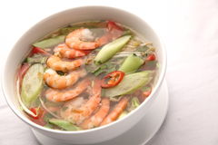 Vietnamese sweet and sour soup. Vietnamese traditional sweet and sour soup with shrimp, popular name canh chua Stock Image