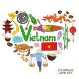Vietnamese symbolen in het concept van de hartvorm Royalty-vrije Stock Afbeeldingen