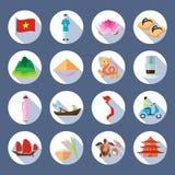 Vietnamese Symbols Flat Round Icons Set Stock Photo