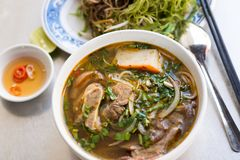Vietnamese traditional food: Hue noodle. A bowl of Vietnamese traditional food: Hue noodle soup Royalty Free Stock Photography