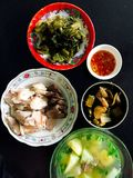 Vietnamese traditional meal with Fermented cabbage, boiled pork and fish sauce. On the table Stock Photos