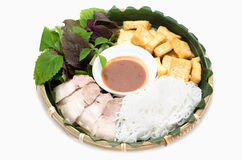 Vietnamese traditional plate pork vermicelli tofu and vegetable stock photography