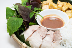 Vietnamese traditional plate pork vermicelli  tofu and vegetable Stock Image