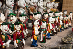 The Vietnamese traditional water puppets. Of the theater in Hanoi, Vietnam. Each puppet represents one character in the normal life in the past stock photos