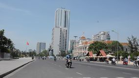 Vietnamese traffic and people in downtown district stock video