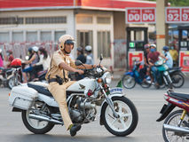 Vietnamese traffic policeman at work Stock Images