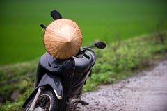 Vietnamese travel, motobike and Vietnamese hat stock photo