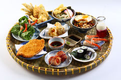 A Vietnamese tray of japanese food with sushi Royalty Free Stock Photos
