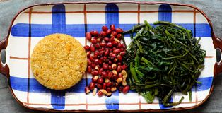 Vietnamese vegan food, vegetarian lunch with, fried rice with pumpkin, water morning glory, peanut