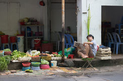 Vietnamese vegetable seller Royalty Free Stock Photo