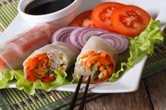 Vietnamese vegetable spring rolls with sauce, horizontal Stock Photo