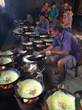 Vietnamese vegeterian pancakes. The Buddhist chefs was making the Vietnamese vegeterian pancakes for free at a pagoda. & x28;Tinh Bien dist., An Giang province Royalty Free Stock Photo