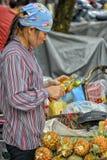 Vietnamese verkoopvrouw in Hanoi Royalty-vrije Stock Afbeeldingen