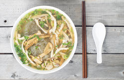 Vietnamese vermicelli chicken and bamboo shoots soup Royalty Free Stock Photo