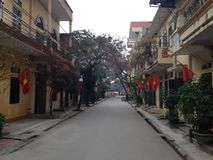 Vietnamese village street with flags, Vietnam. Vietnamese village street with red flags, Vietnam stock image