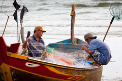Vietnamese vissers Stock Foto's