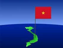 Vietnamese vlag op kaart Stock Afbeelding