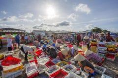 Vietnamese vrouw die aan het strand bij Lange Hai-vissenmarkt werken Stock Fotografie
