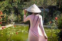Vietnamese Vrouw in het Park Stock Fotografie