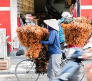 Vietnamese vrouwen dragende manden van fruit en groenten op de straat in Tint, Vietnam stock foto