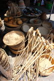 Vietnamese weaved baskets at market Royalty Free Stock Photo