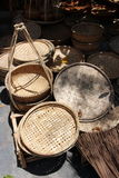 Vietnamese weaved baskets at market Royalty Free Stock Images