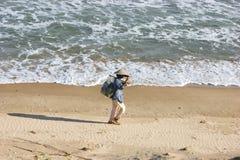 Vietnamese woman on the beach Royalty Free Stock Image