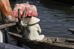 Vietnamese Woman in Boat Royalty Free Stock Photography
