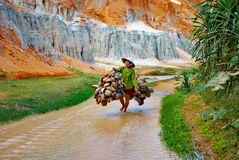 Vietnamese woman in a Canyon Royalty Free Stock Image