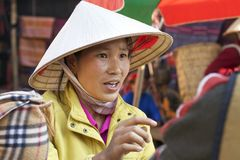 Vietnamese Woman at Marker Stock Photography