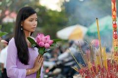 Vietnamese woman praying Royalty Free Stock Photos