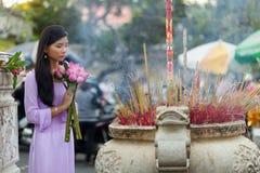 Vietnamese woman praying Stock Image
