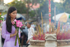 Vietnamese woman praying at temple Royalty Free Stock Images
