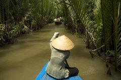 Vietnamese woman rowing a boat. In Mekong River in Vietnam Stock Image