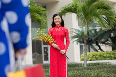 Vietnamese woman in traditional dress Royalty Free Stock Image