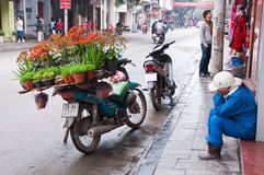 Vietnamese women. HANOI, VIETNAM - March 4: An unidentified road side peddler sells Ornamental in Hanoi, Vietnam on March 4,2012 Royalty Free Stock Image