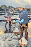 Vietnamese women are burdening hard to collect salt from the extract fields to the storage fields Stock Photo