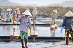 Vietnamese women are burdening hard to collect salt from the extract fields to the storage fields Royalty Free Stock Photos