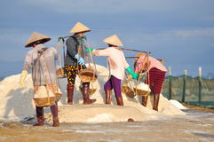 Vietnamese women are burdening hard to collect salt from the extract fields to the storage fields. NINH HOA, VIETNAM - MARCH 2, 2012: Vietnamese women are Royalty Free Stock Photography
