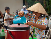 Vietnamese women mixing a drink Royalty Free Stock Photos