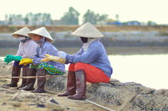 Vietnamese women salt workers are relaxing after working hard to collect salt from the extract fields to the storage fields Stock Images