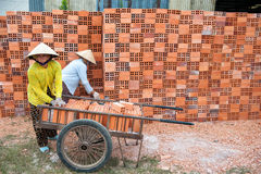 Vietnamese women working in brickworks Royalty Free Stock Photography