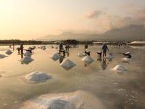 Vietnamese women working on the salt fields in Ninh Thuan, Vietnam Stock Photo