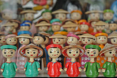 Vietnamese wooden traditional dolls in Hanoi. Northern Vietnam traditional market Stock Photography