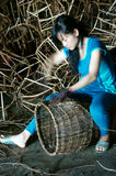 Vietnamese worker, rattan basket, Royalty Free Stock Images