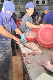 Vietnamese workers are filleting pangasius fish in a seafood processing plant in the mekong delta Stock Image