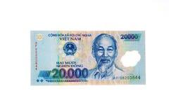 Vietnamesische Dong-Banknote der Währung 20.000 Lizenzfreies Stockbild
