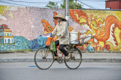 Vietnamesische Frau auf einem Fahrrad lizenzfreies stockbild